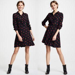 GANNI 1771 Barra Crepe Twist Polka Dot Shirt Dress